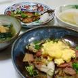 いわしのみりん干し、春雨の炒め物、小松菜と油揚げの煮びたし、大根とキャベツのスープ