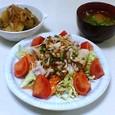 豚しゃぶサラダ、信田ジャガ、落とし卵の吸い物