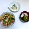 お好み丼、小松菜の白あえ、吸い物
