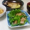 あめたの干物、卵の中華風煮物、サラダ、ナスの味噌汁