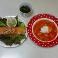 ドイツ風ムニエル、ミネストローネ、小松菜とじゃこのつくだ煮風