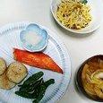 鮭ハラスの塩焼き、もやしと卵の酢の物、キャベツと油揚げの味噌汁