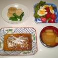 太刀魚の中華煮、長芋としし唐の炒めもの、サラダ、大根と油揚げの味噌汁