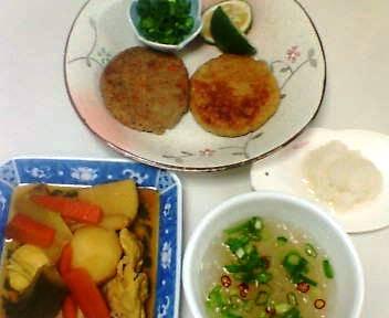 イワシのハンバーグ、卵の中華風煮物、春雨スープ