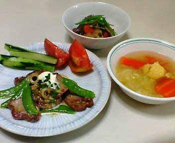 豚ひれのオリーブソース、筑前煮風サラダ、野菜スープ