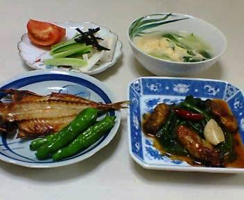 アジの干物、ほうれんそうとかきの中国風いため、千切り長芋ときゅうり&トマト、青梗菜と卵のスープ