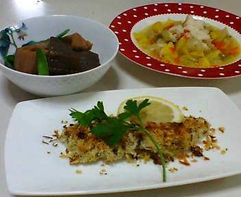 タラの香草パン粉焼き、ミネストローネ、蓮根とこんにゃくの煮物