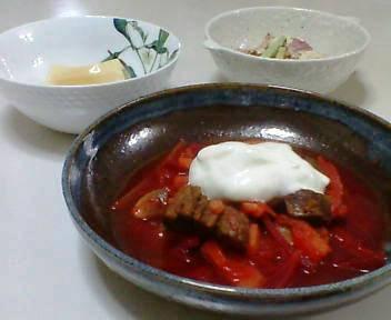 ボルシチ、サラダ、卵豆腐