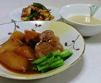 かぶと豚ヒレ料理、厚揚げと卵としし唐のいためもの、さつまいものスープ