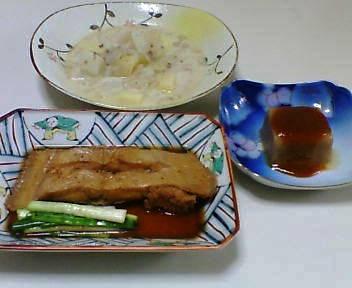 子持ちカレイの煮つけ、ごま豆腐、カブのスープ
