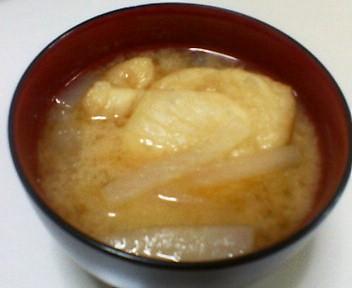 餅入り巾着と大根の味噌汁