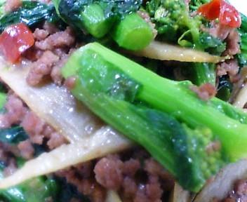 菜種とごぼうと合い挽き肉の炒め物