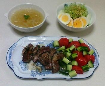 豚肩ロース肉の串焼き―フェンネル風味、卵とキャベツのサラダ、玉ねぎのスープ